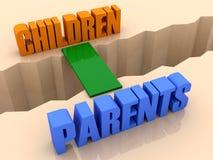 Två ordbarn och föräldrar som förenas av bron till och med avskiljande, knäcker. vektor illustrationer
