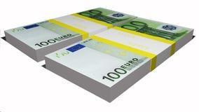 Två packar av euroräkningar Royaltyfri Bild