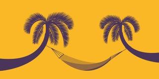 Två palmträd med hängmattan på orange bakgrund för design för sommarferie vektor illustrationer