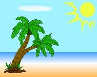 Två palmträd på stranden Royaltyfri Fotografi