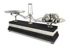 Två Pan Balance Scale And Platinum arkivbilder