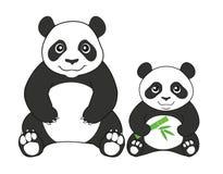Två pandor som isoleras på vit bakgrund också vektor för coreldrawillustration Arkivbild