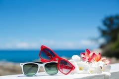 Två par av solglasögon på bakgrund av havet Royaltyfri Fotografi