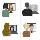 Två par som har en video pratstund till och med internet royaltyfri illustrationer