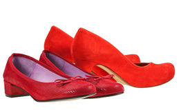 Två parar av röda kvinnor skor Royaltyfri Fotografi