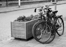 Två parkerade cyklar på gatan i svartvitt Arkivfoto