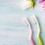 Två pastellfärgade tandborstar med blommaörter bakgrund colors vit yellow för den nya gröna tvätterifjädern Arkivbilder
