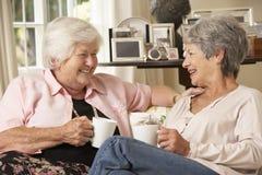 Två pensionerade höga kvinnliga vänner som sitter på Sofa Drinking Tea At Home arkivbild