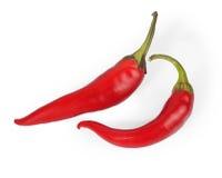 Två peppar för röd chili - varma kryddor, Arkivfoto