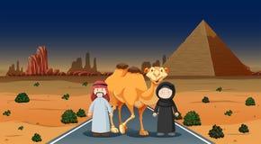Två personer och kamel i öknen vektor illustrationer