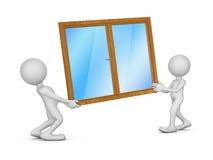 Två personer som rymmer ett fönster Royaltyfri Fotografi