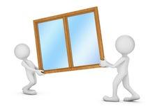 Två personer som rymmer ett fönster Royaltyfri Foto