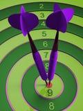 Två pilar som slår bullseyesyftet begrepp av illustrationen för framgång 3d Royaltyfria Bilder