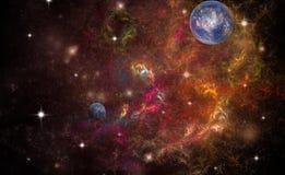 Två planeter i djupt utrymme royaltyfri fotografi
