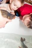 Två pojkar med karpen på jul Fotografering för Bildbyråer