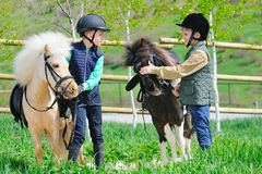 Två pojkar med ponnyer Royaltyfria Bilder