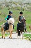 Två pojkar med ponnyer Royaltyfri Bild