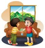 Två pojkar som skakar händer nära soffan vektor illustrationer
