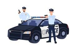 Två poliser eller snutar, i enhetlig stående near bil, hållande vapen och att sikta dem på någon Polisoperation plant vektor illustrationer