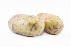 Två potatisar på en vit bakgrund Arkivbilder