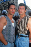 Två puertoricanska män på en Cinco de Mayo Celebration, Los Angeles, CA arkivfoto