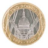 Två pund mynt Arkivbilder