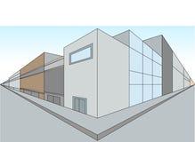 Två-punkt perspektivillustration av en gata vektor illustrationer