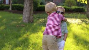 Två pyser i solglasögon står krama i parkerar på grönt gräs lager videofilmer