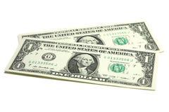 Två räkningar in i en US dollar Royaltyfria Bilder