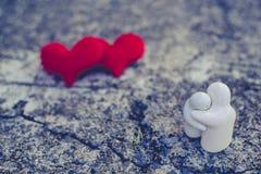 Två röd hjärta, valentindagvykort, älskar dig, mig älskar dig Royaltyfri Fotografi