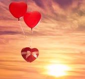 Två röda ballonger Royaltyfri Fotografi