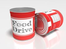 Två röda cans på vit med en etikettvisningmat kör stock illustrationer