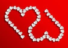Två röda hjärtor vektor illustrationer