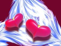 Två röda hjärtor royaltyfri illustrationer