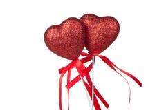 Två röda hjärtor Arkivfoto