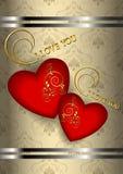 Två röda hjärtor med på mönstrad bakgrund för beiga Arkivbild