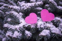 Två röda hjärtor på entäckt bakgrund av en julgran fotografering för bildbyråer