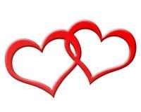 Två röda hjärtor som tillsammans sammanfogas Royaltyfri Fotografi
