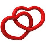 Två röda hjärtor tillsammans 3d Arkivbild