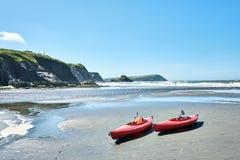 Två röda kanoter på stranden i en solig dag royaltyfria foton