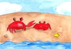 Två röda krabbor på sandstranden Fotografering för Bildbyråer