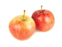 Två röda mogna äpplen på en vit bakgrund Arkivfoto