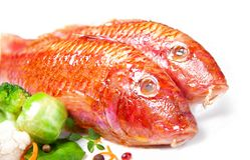 Två röda multefiskar och grönsaker fotografering för bildbyråer