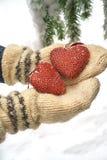Två röda textilhjärtor och händer på tung snöig granfilialbakgrund, nära hus för röd tegelsten Glad jul, lyckligt nytt år och fotografering för bildbyråer