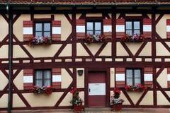 Två rader av fönster med blommagarnering i Nuremberg Fotografering för Bildbyråer