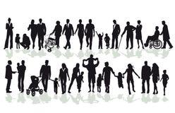 Två rader av folk inklusive vuxna människor och barn vektor illustrationer