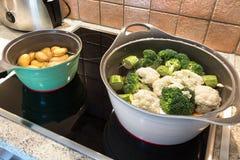 Två ragukrukor med behandla som ett barn potatisar, broccoli och blomkålen royaltyfri bild