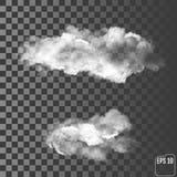 Två realistiska moln på en genomskinlig bakgrund Royaltyfri Foto
