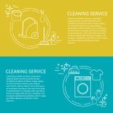 Två reklamblad, kort med clening av den tjänste- symbolen Royaltyfria Bilder