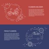 Två reklamblad, kort med skåpbilen och cykel med blommaleverans vektor Fotografering för Bildbyråer